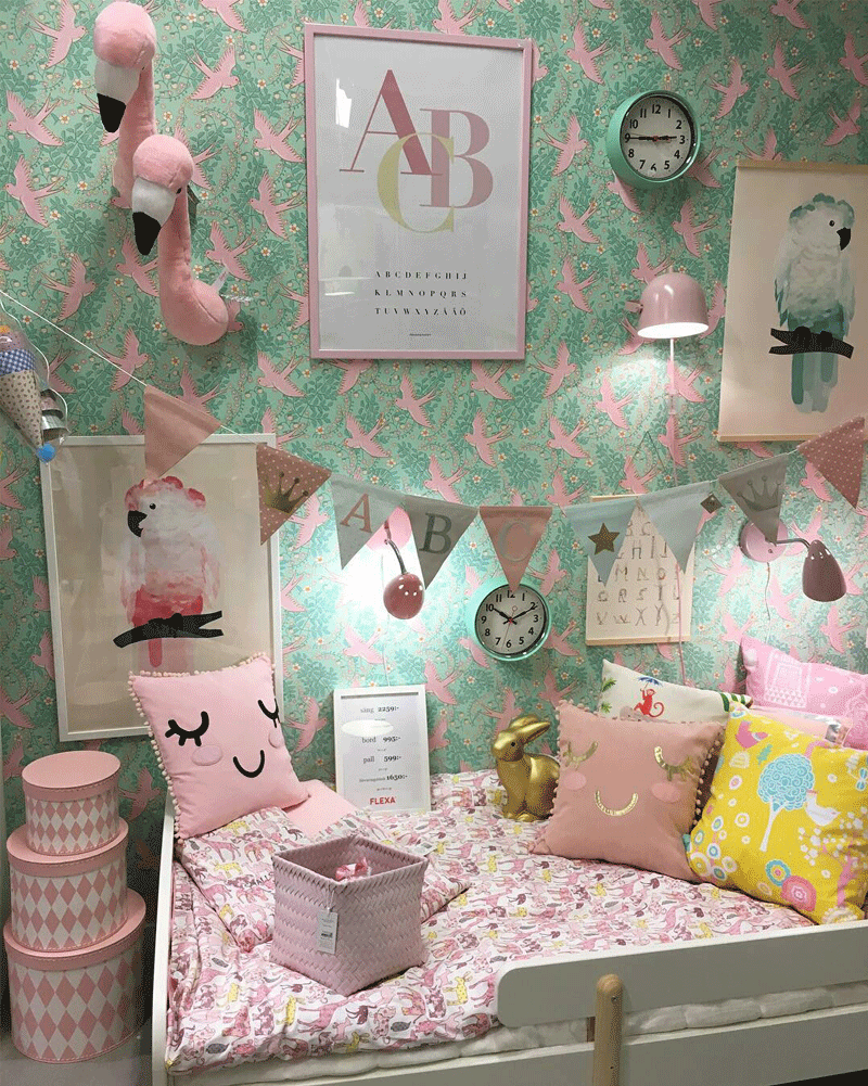 pink and green kids décor