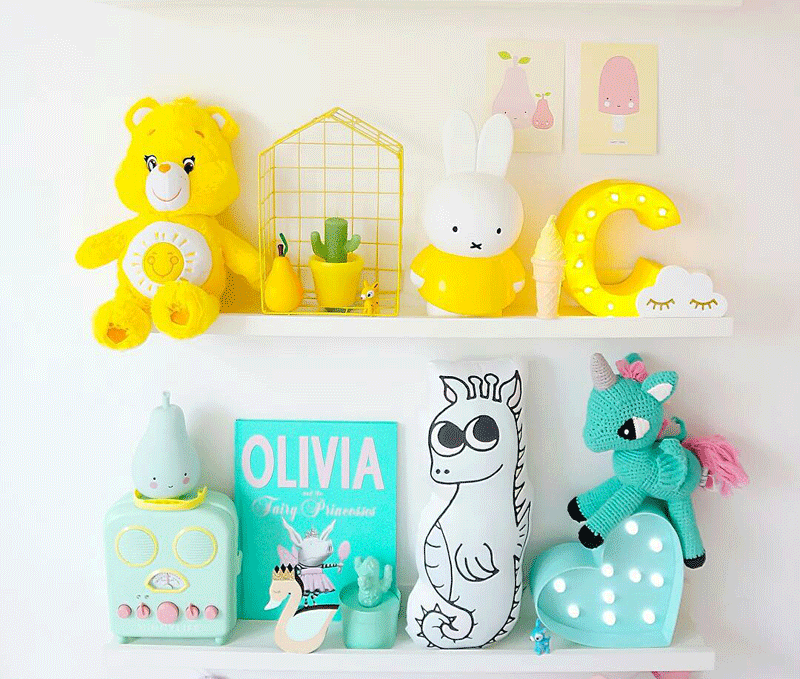 yellow and turquoise childrens decor