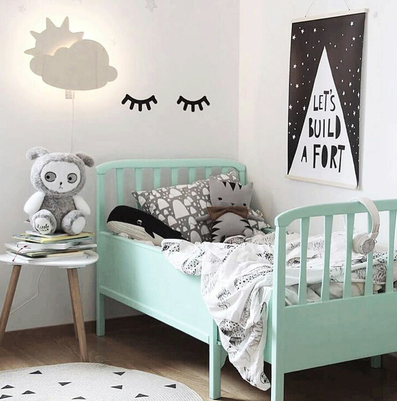 mint green turquoise kids bed
