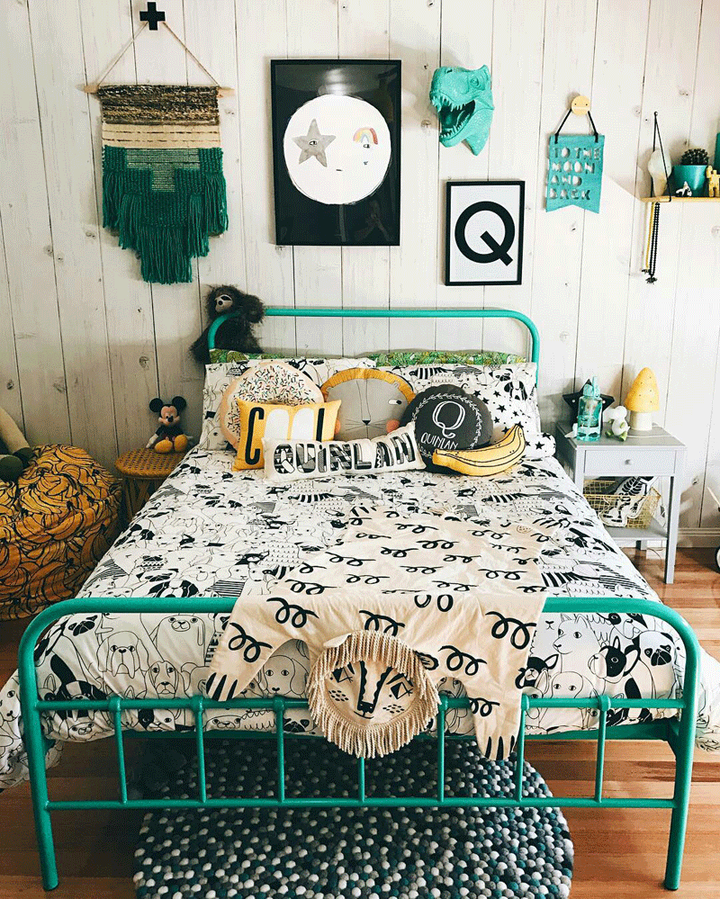 boys room with turquoise