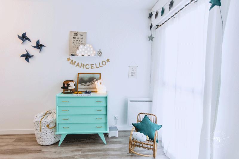 turquoise nursery dresser
