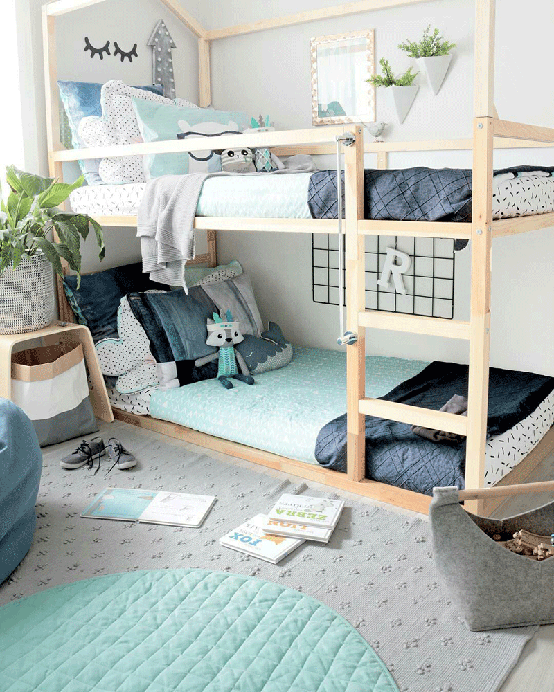 blue boysroom bunk beds