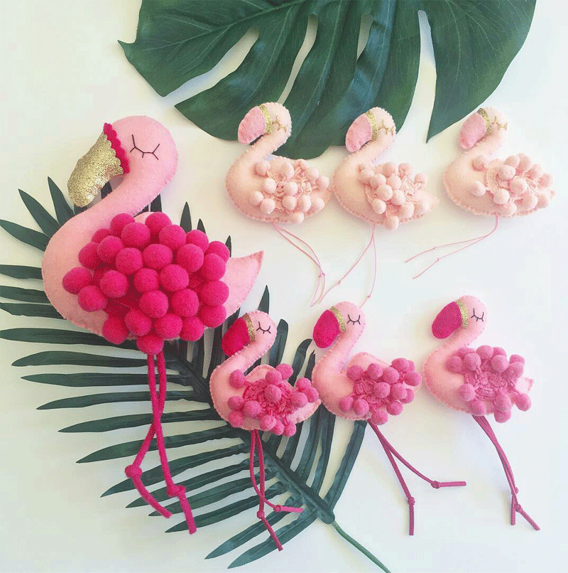 felt flamingo garlands