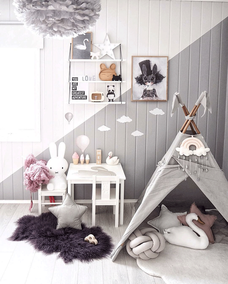 playroom with tent