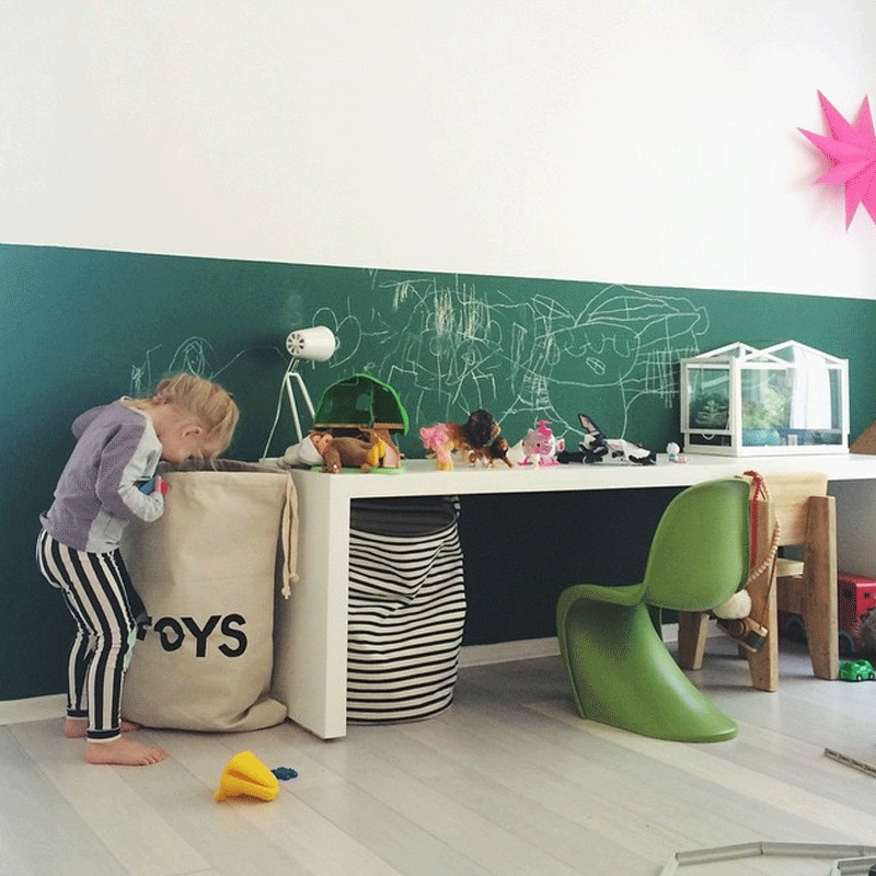 green chalkboard kids room