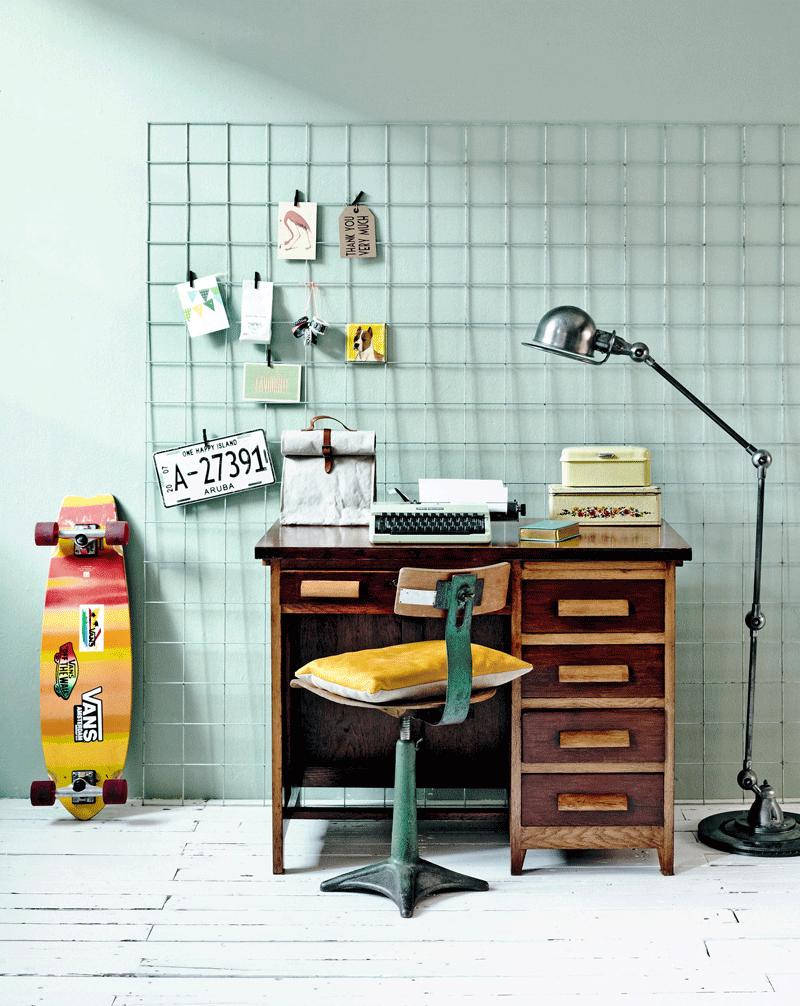 wooden vintage kids desk