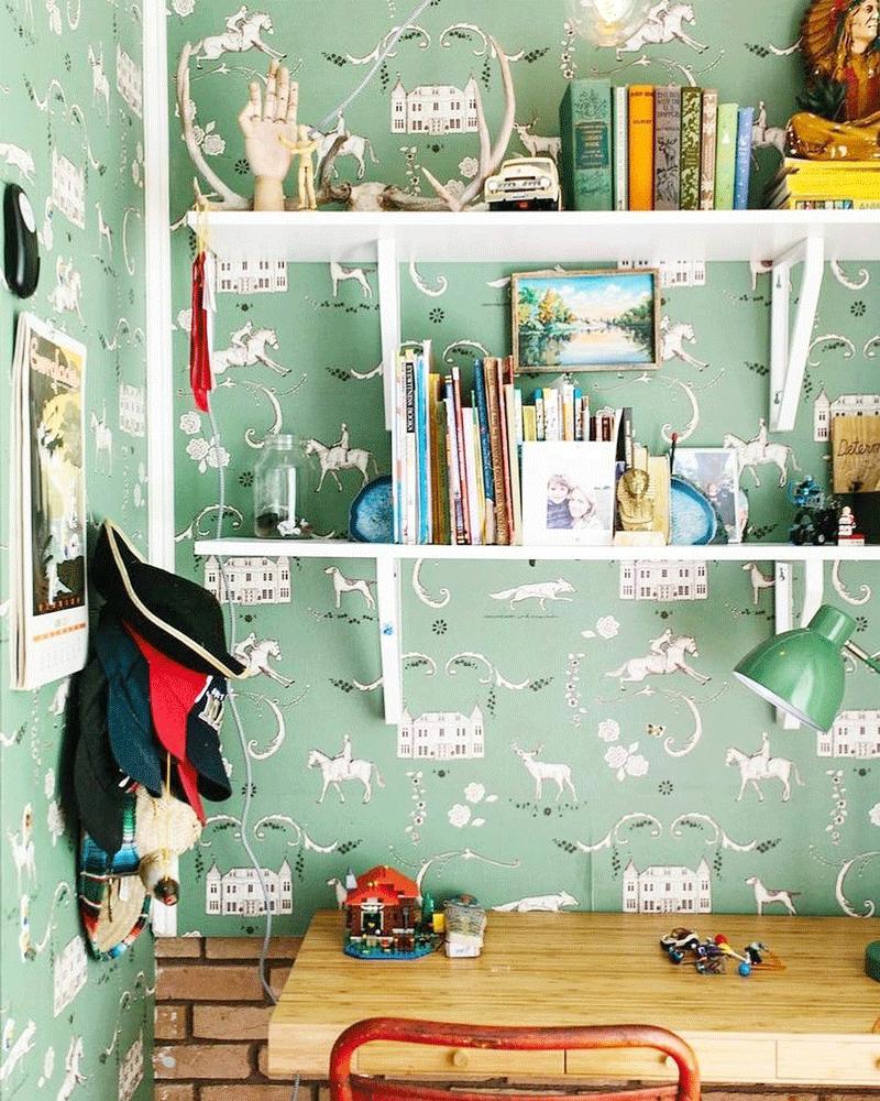 shelves suty corner kids room