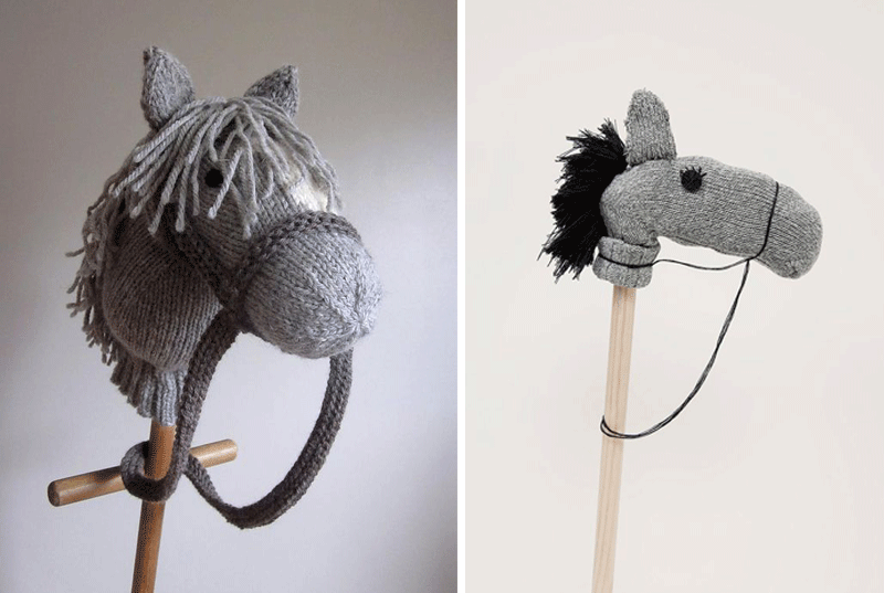diy knitted broom hobby horse