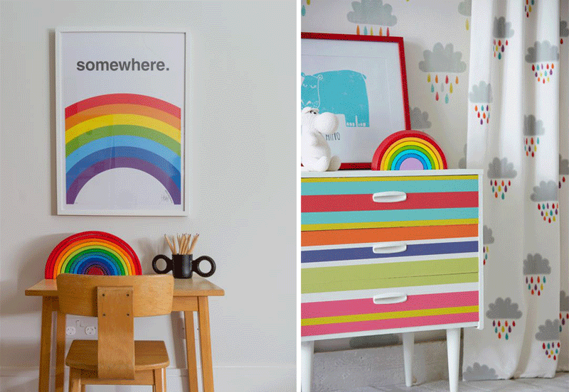 rainbows in kids interiors