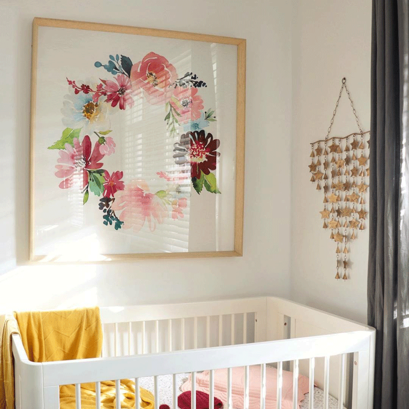 pink yellow flowery nursery