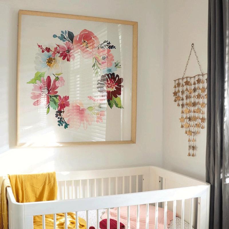 pink yellow flowery nursery
