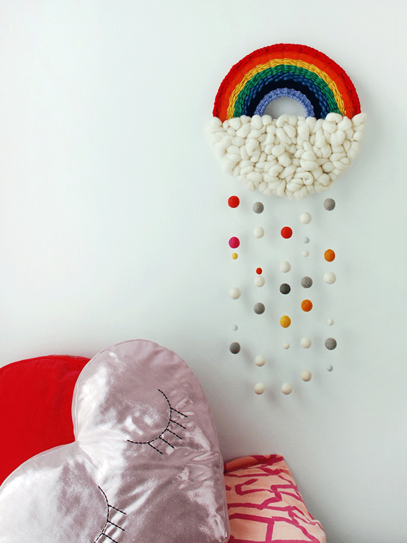 rainbow wool wall hanging