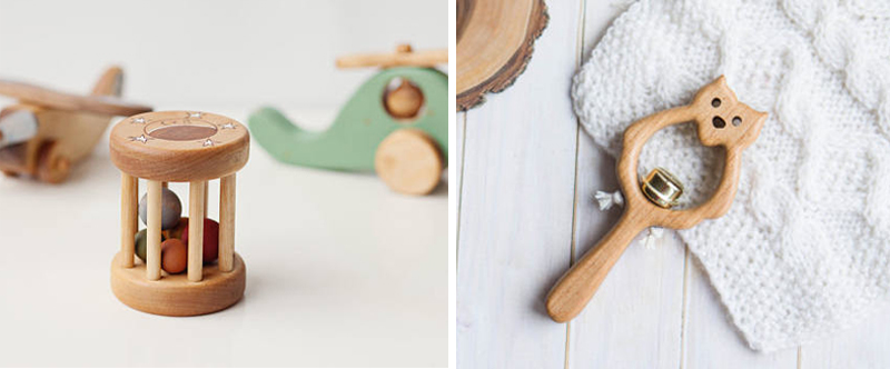 natural wood baby rattles