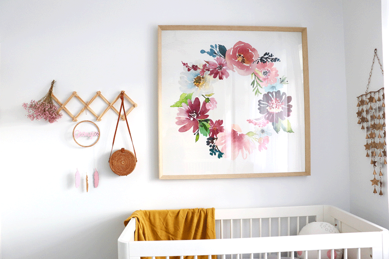 flowery wall art nursery