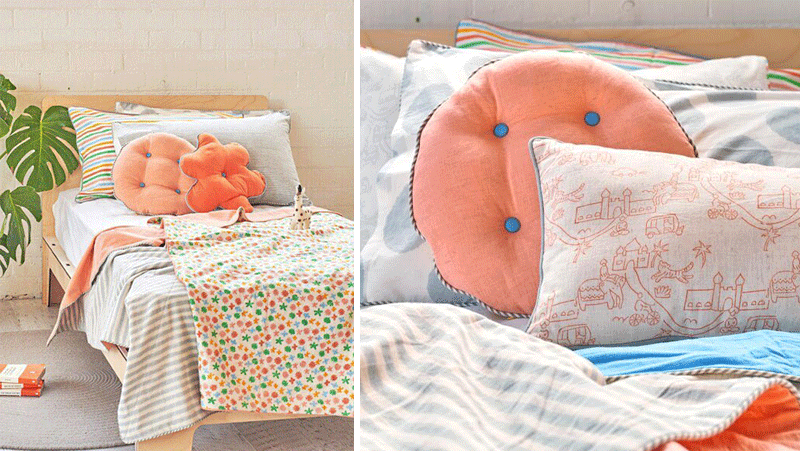 coral peach kids bedding