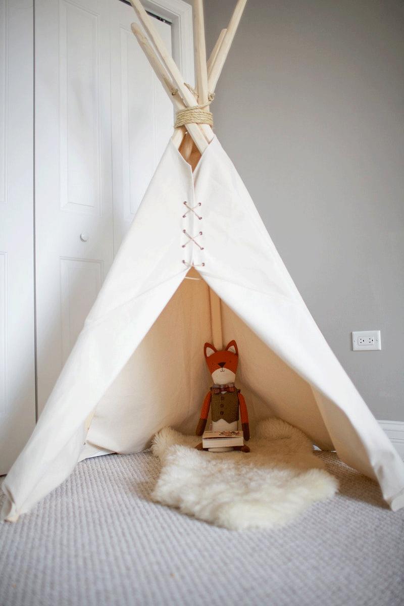 teepee and a fox