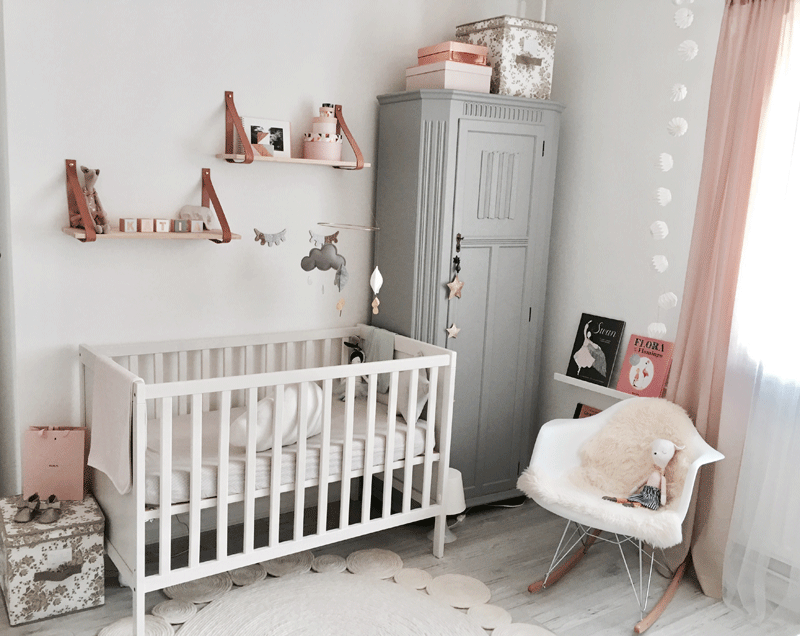 grey pink girl nursery