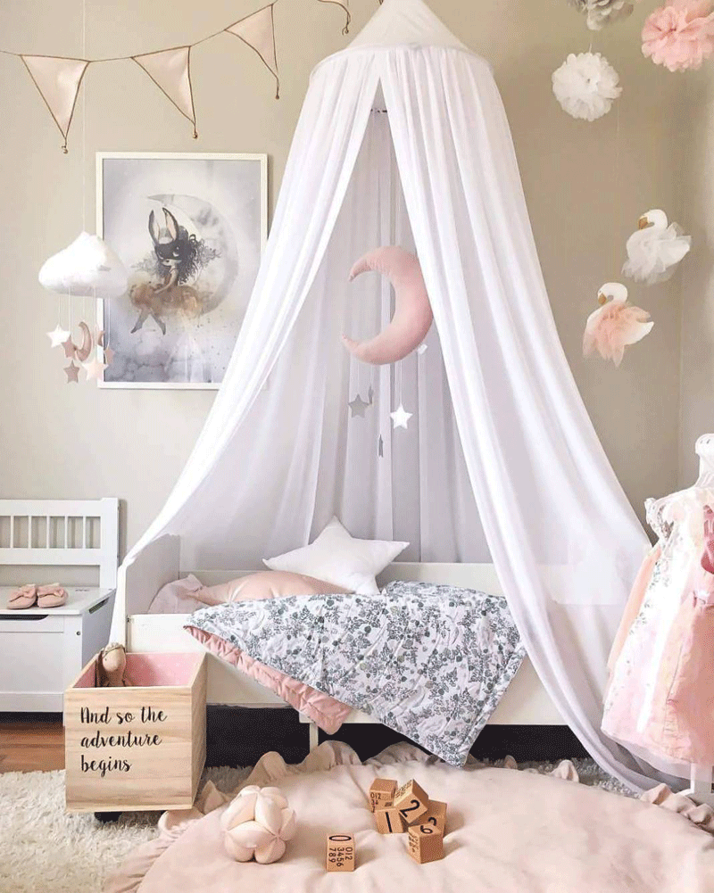 white canopy for kids room