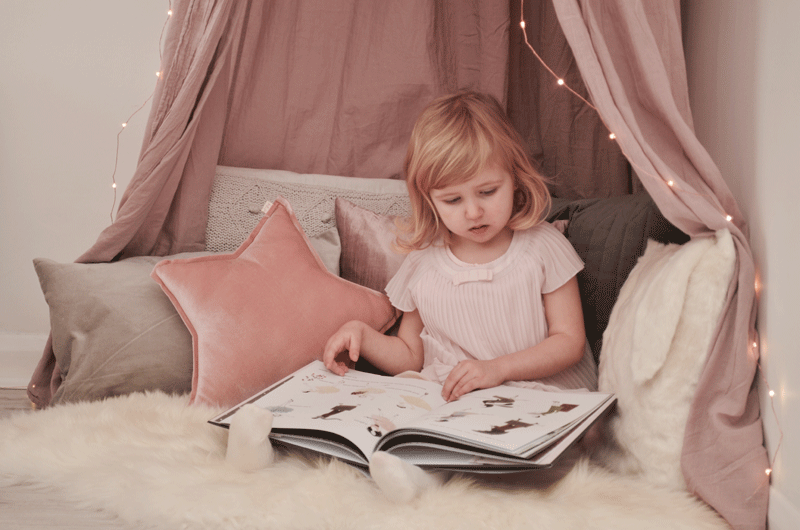 pink reading nook girls room