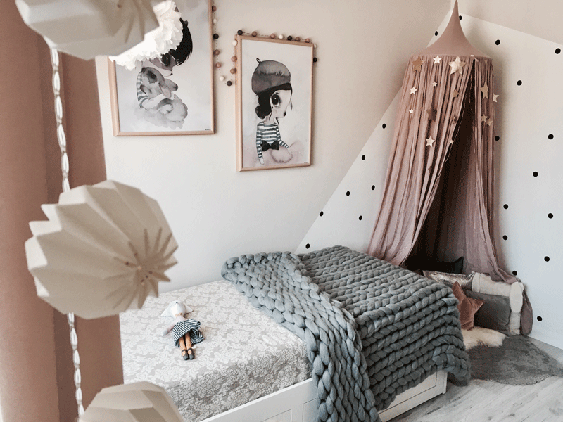 grey pink two tone nursery