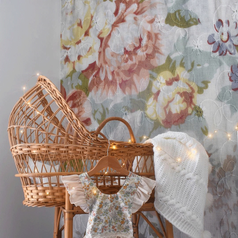 vintage flowery wallpaper nursery