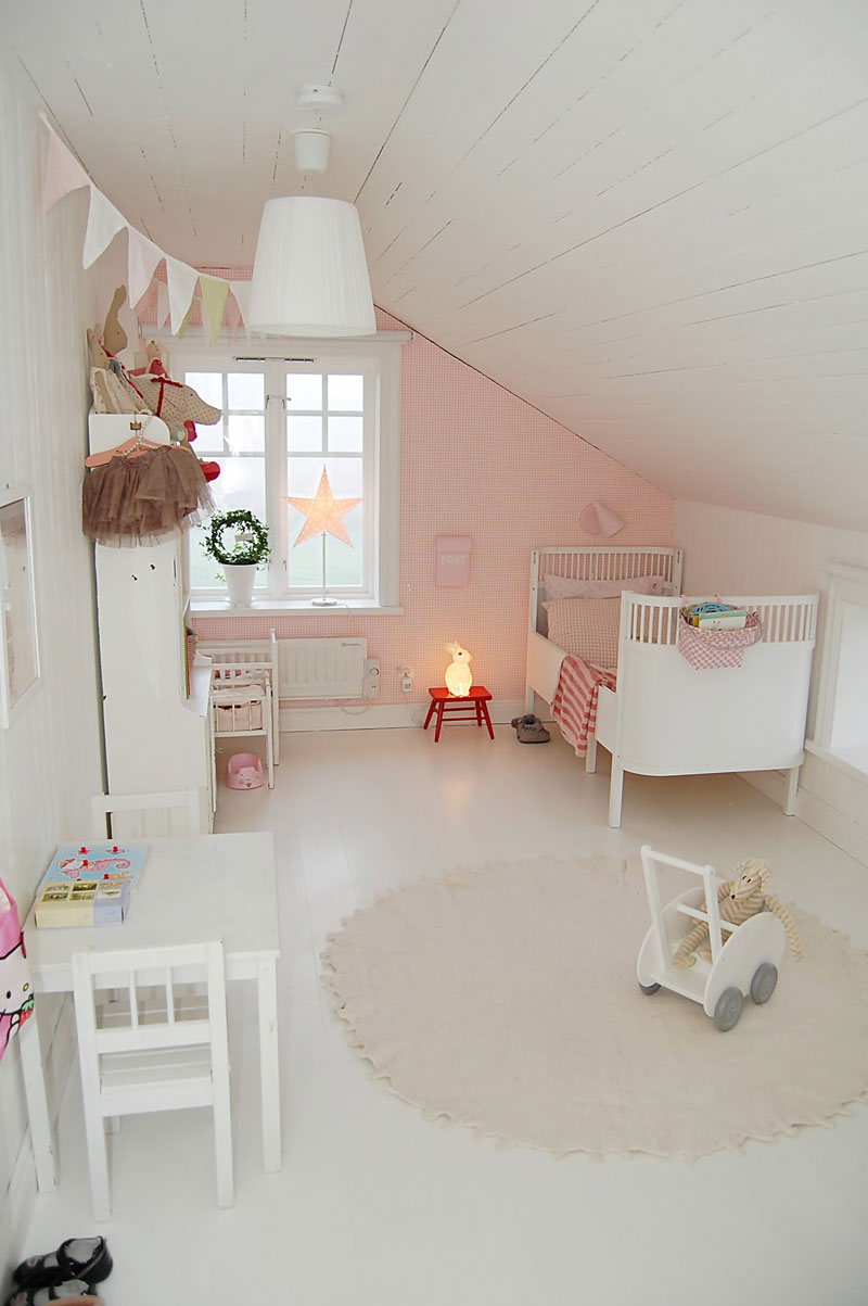 pink accent wall girls room