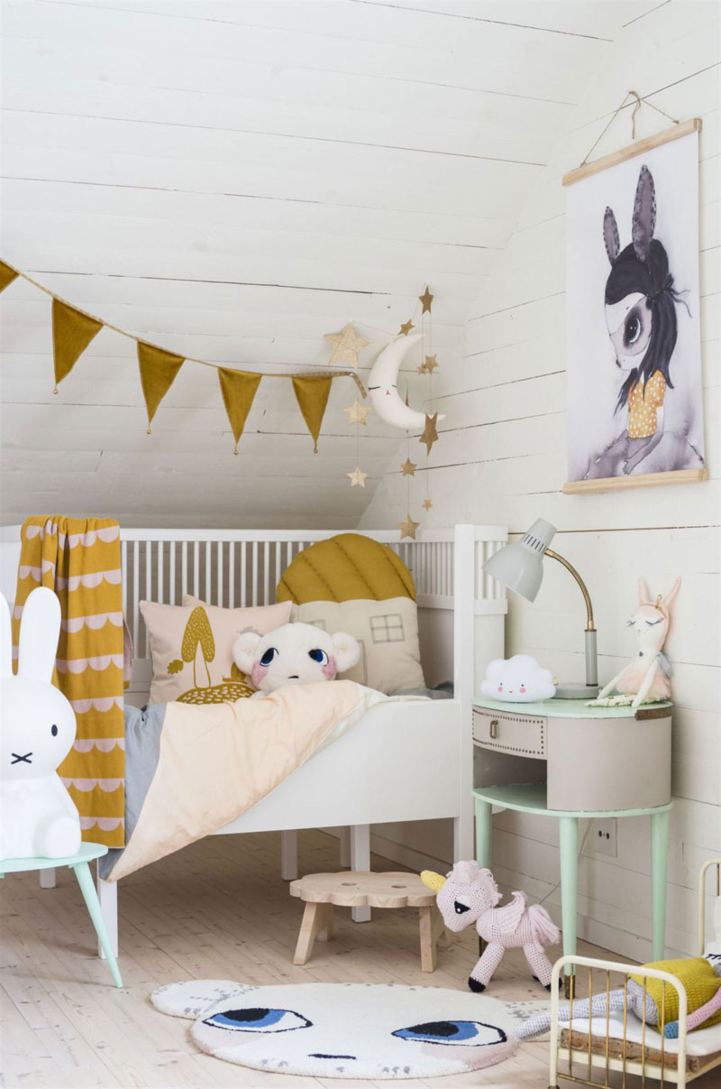 mustard yellow details kids room