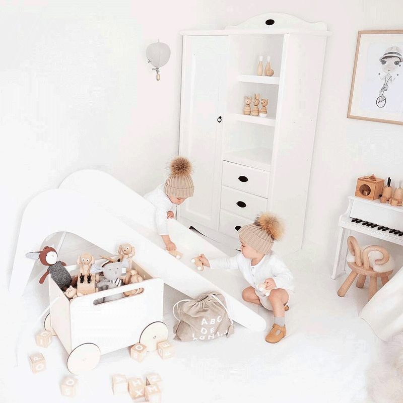 all-white kids room