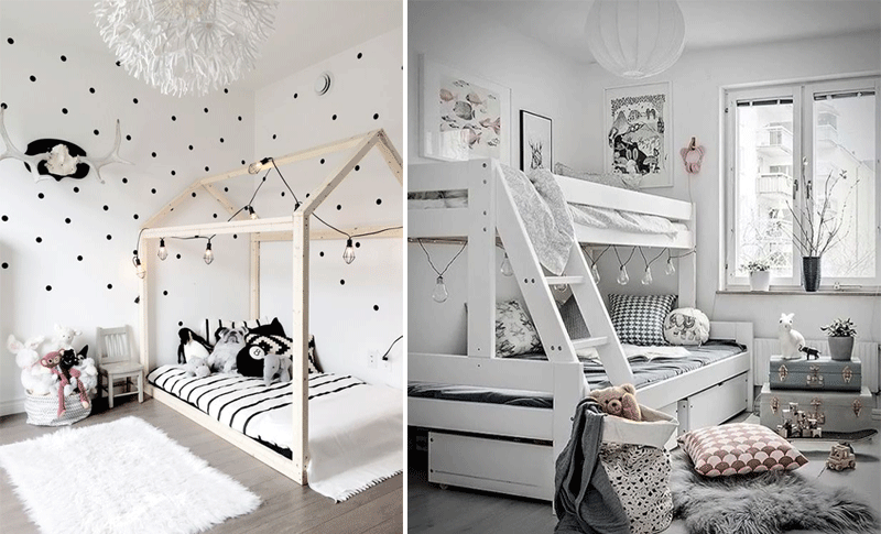 white grey kids rooms