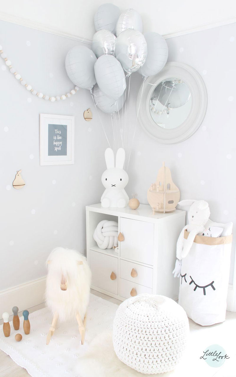 white kids room styling