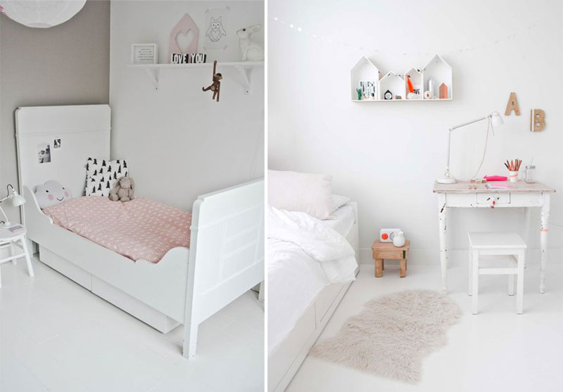 white and pink girls rooms