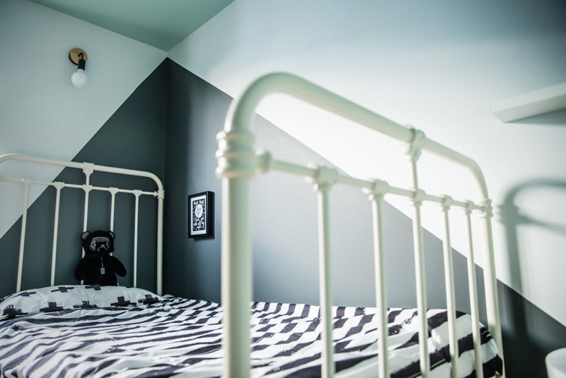 white metal kids bed