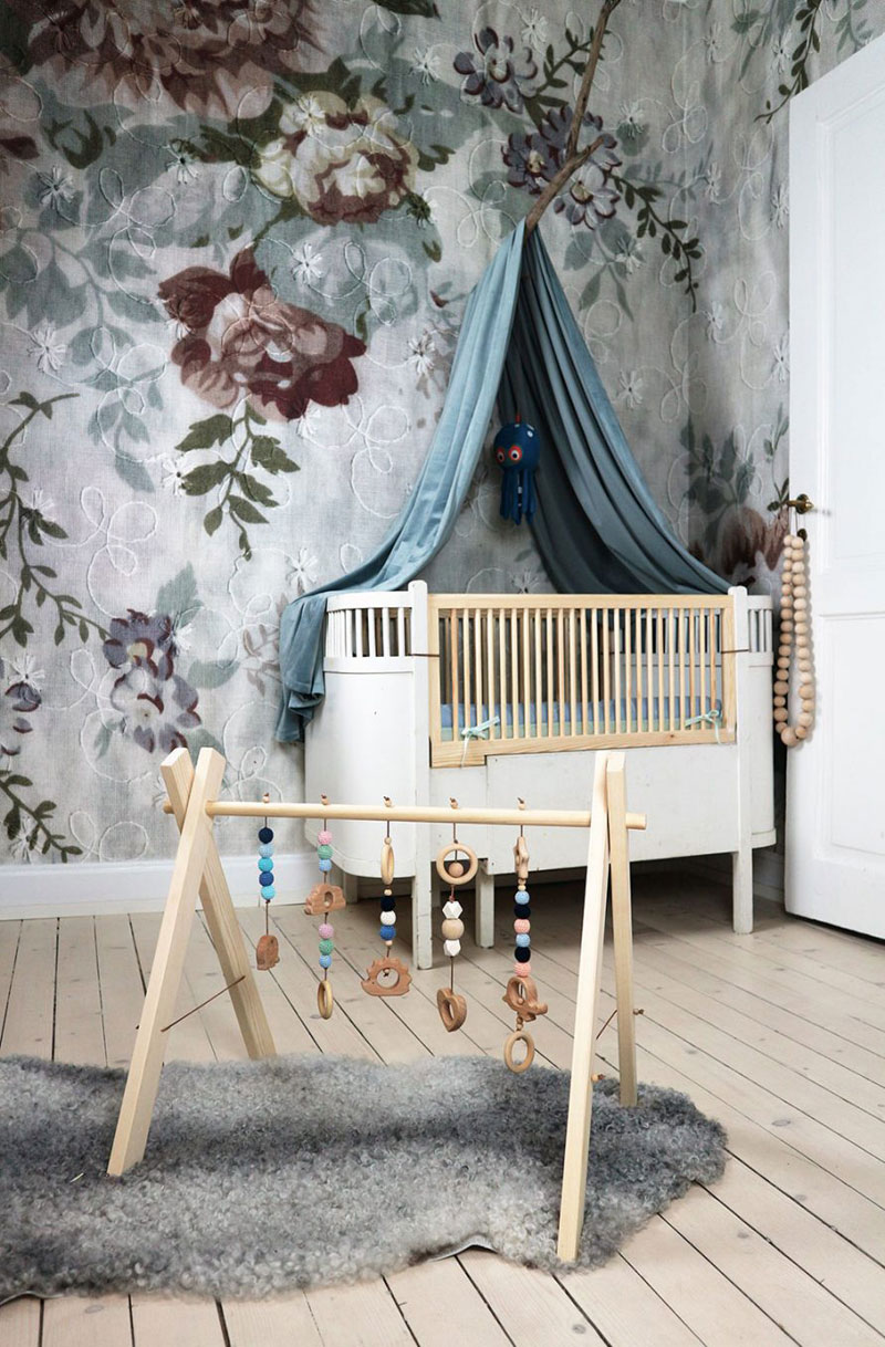big floral wallpaper nursery