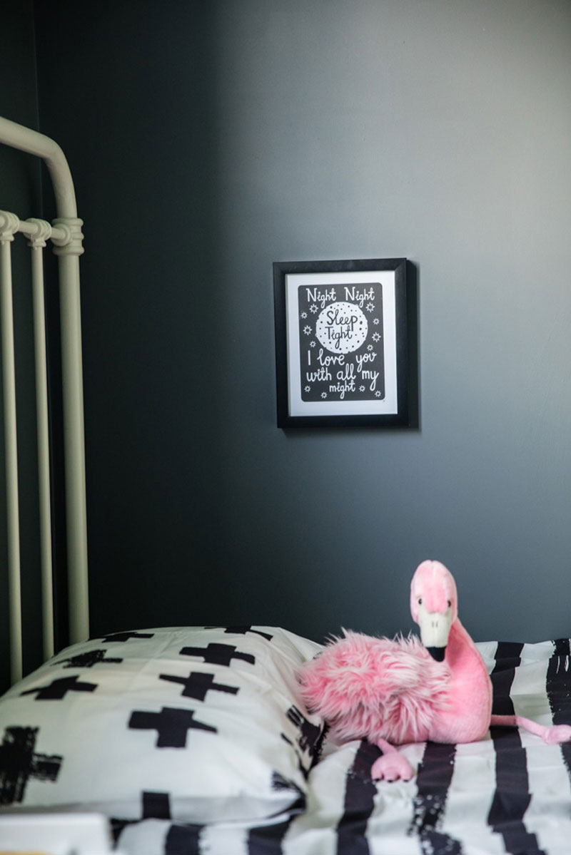 pink and black kids room