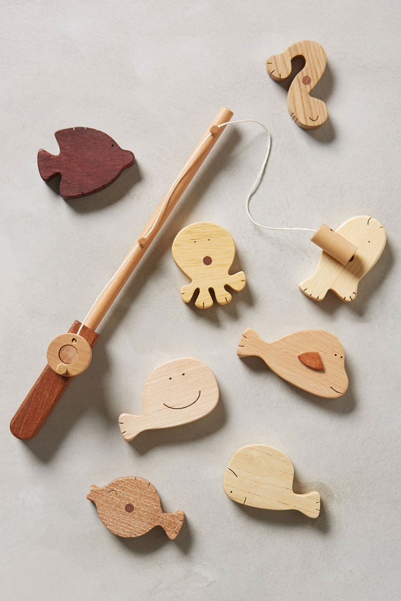 wooden fishing toy