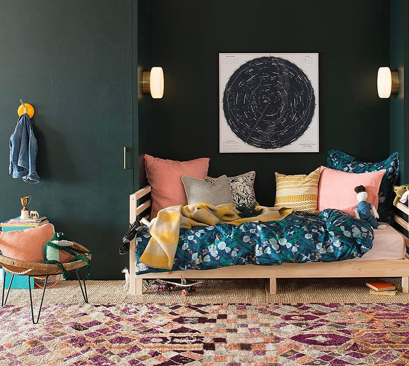 black and pops of colour kids room