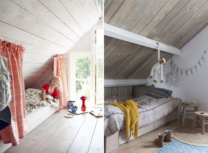 kids bed in attic