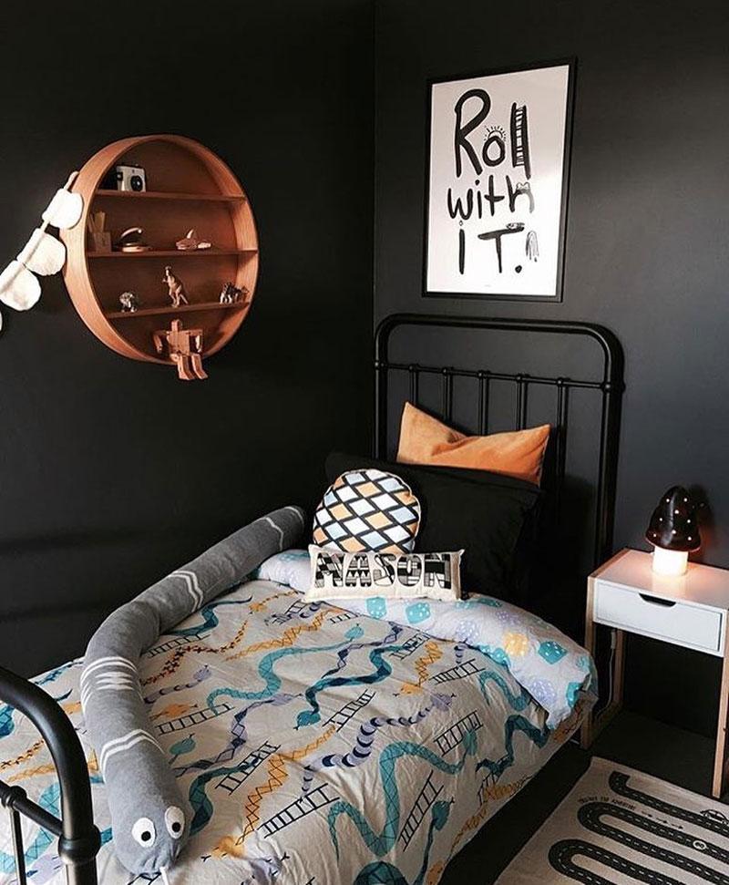 black walls childrens room