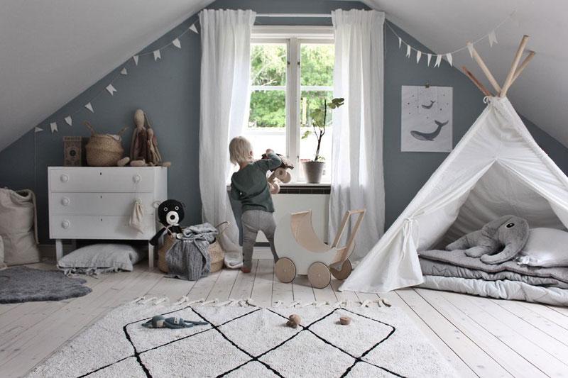 slanted ceiling in kids room