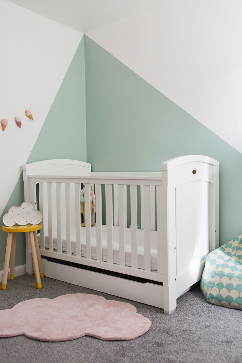 mint blue walls nursery