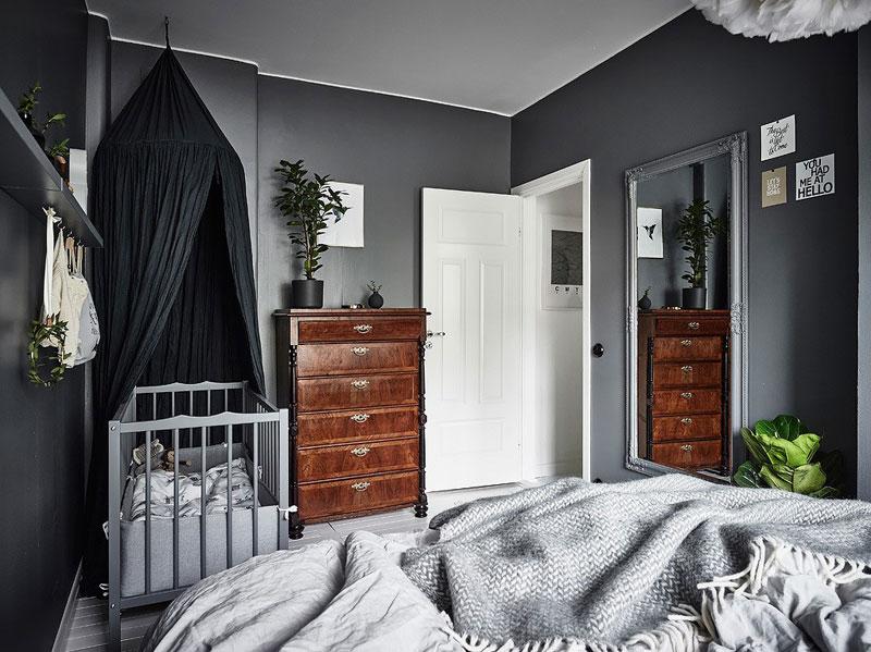 wooden furniture with dark walls