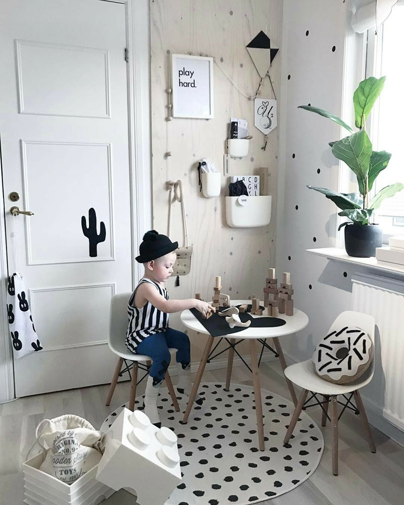 scandinavian styled kids room