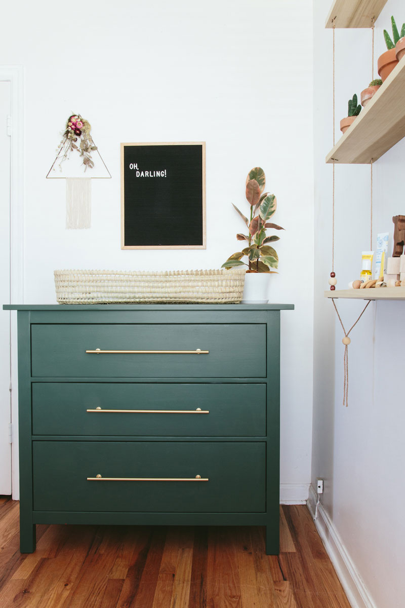 green nursery changing table