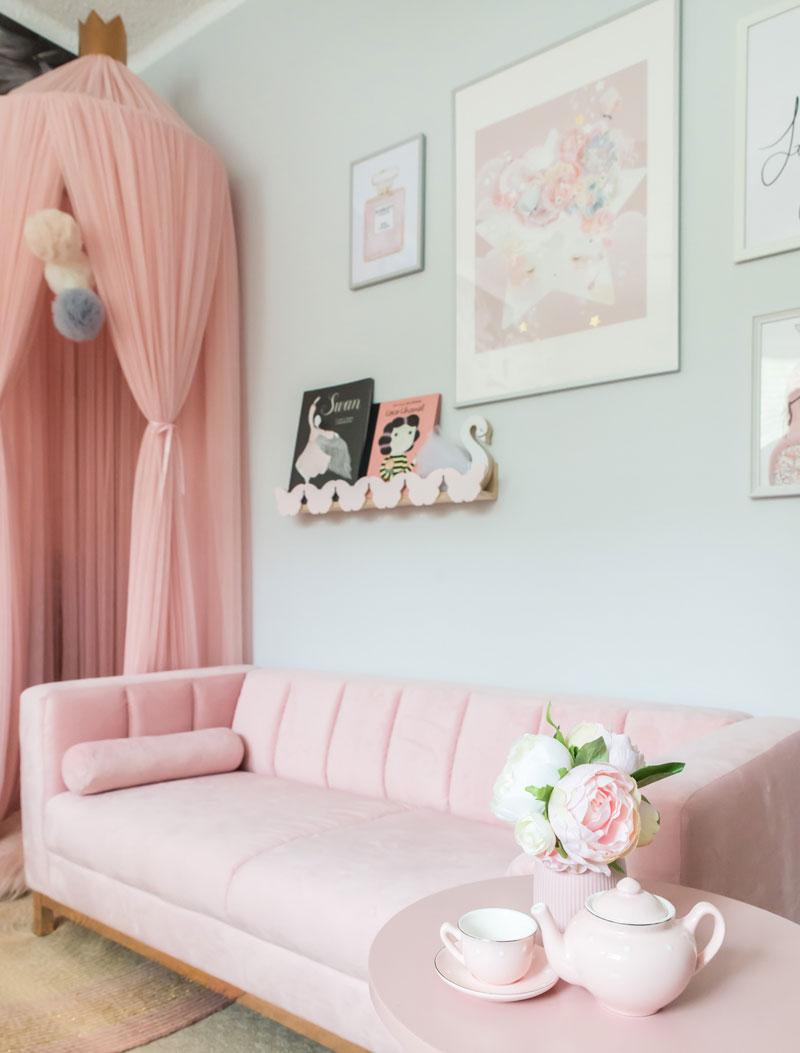 pink velvet sofa