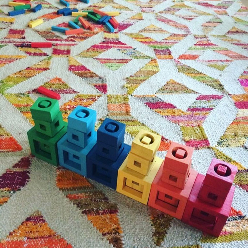 colored construction block toys