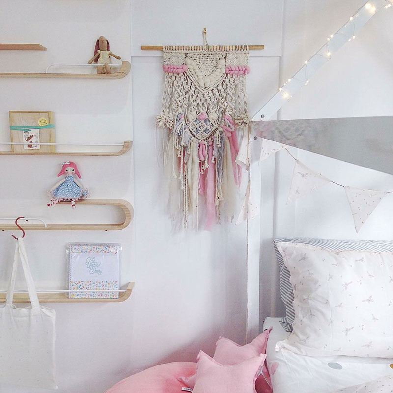pink beige macramé for kid's room