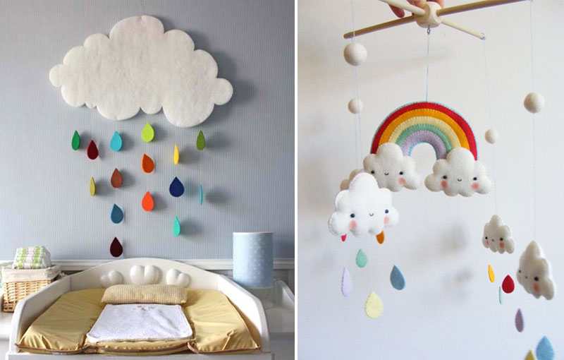 rainbow clouds nursery mobile