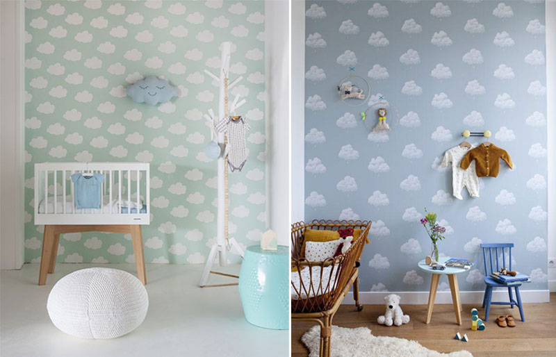 blue cloud wallpaper boys room