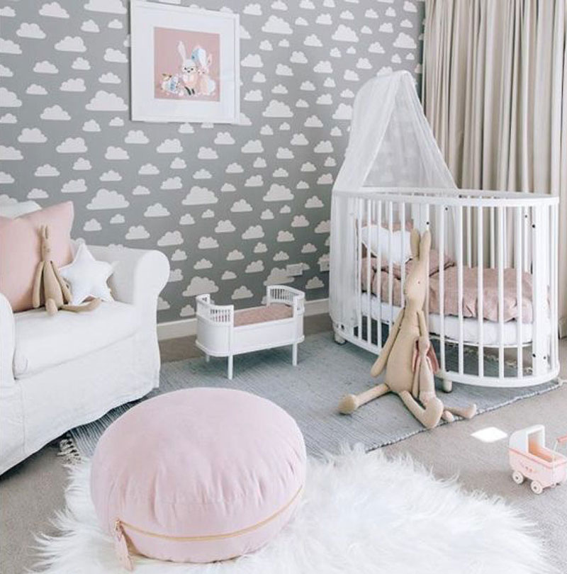 Clouds In Kids Rooms Wallpaper Cushions Lamps Mobiles