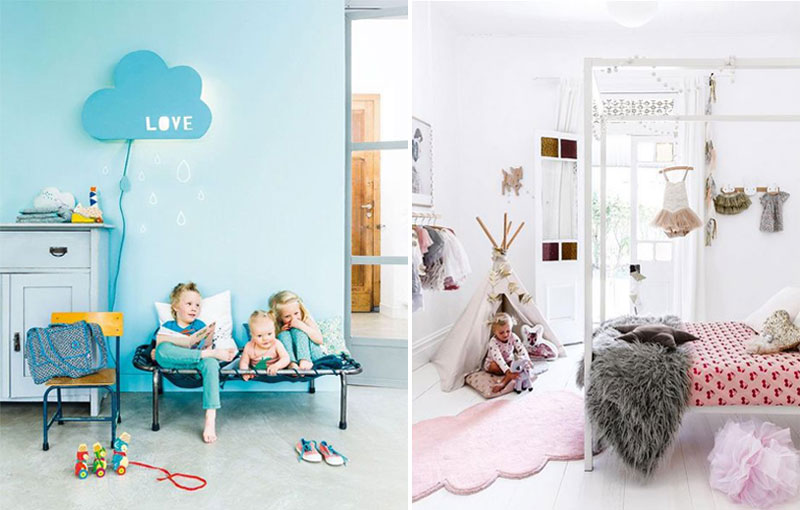 clouds in kids interiors